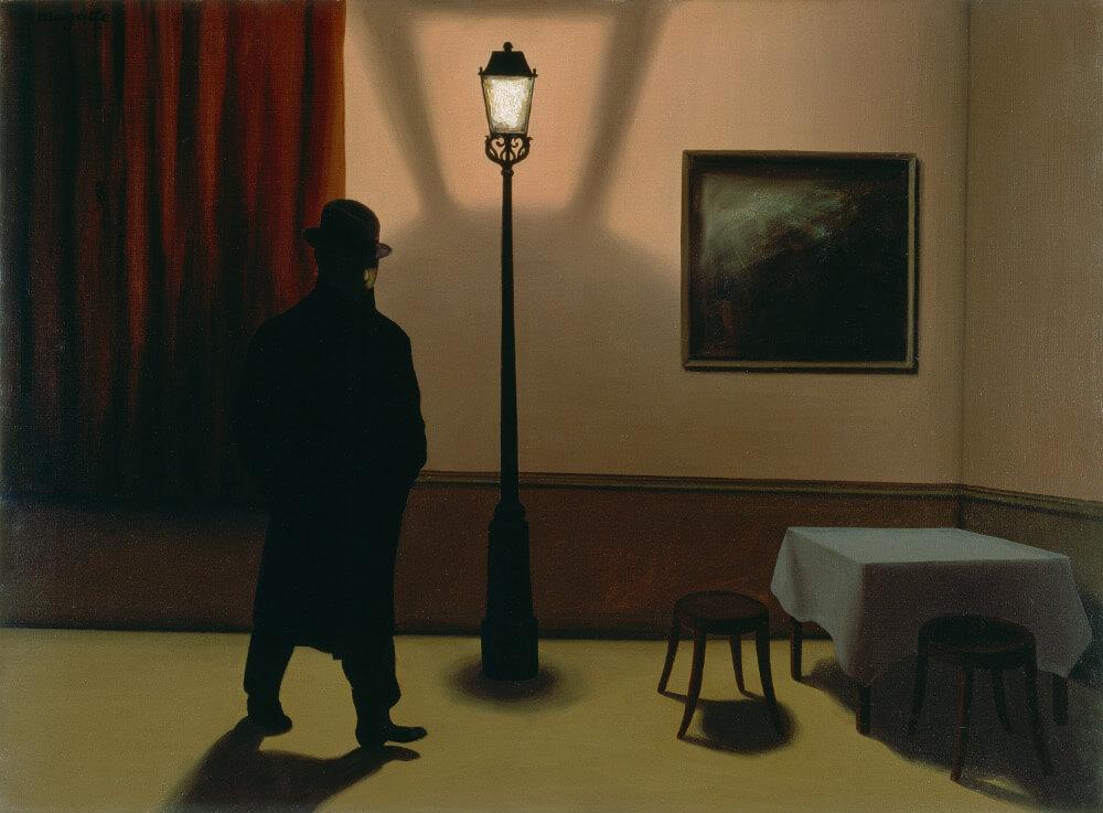 René Magritte Le noctambule 1928, Öl auf Leinwand 54 x 73 cm, Museum Folkwang, Essen (Bild: © Museum Folkwang Essen – ARTOTHEK / Prolitteris 2018)